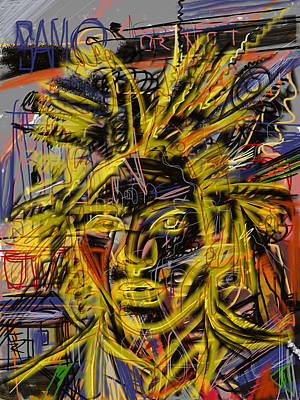 Neo-expressionism Mixed Media - Jean Michel by Russell Pierce