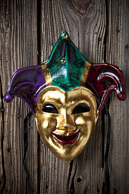 Jester Mask Hanging On Wooden Wall Print by Garry Gay