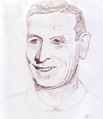 Graphite Drawing - John Wooden by M Valeriano