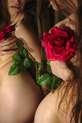 Female Nude Abstract Mirrors Flowers Photograph - Kazi0813 by Henry Butz