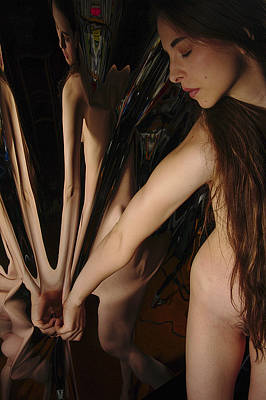 Female Nude Abstract Mirrors Flowers Photograph - Kazi0832 by Henry Butz