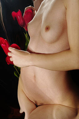 Female Nude Abstract Mirrors Flowers Photograph - Kazi1112 by Henry Butz