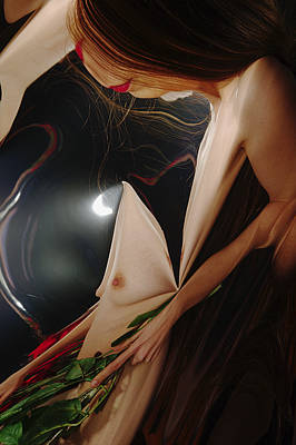 Female Nude Abstract Mirrors Flowers Photograph - Kazi1193 by Henry Butz