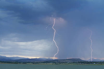 Lightning Striking At Sunset Rocky Mountain Foothills Print by James BO  Insogna
