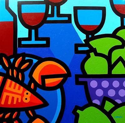 Lime Painting - Lobster Wine And Limes by John  Nolan