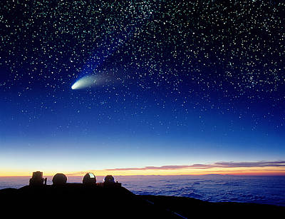 Keck Photograph - Mauna Kea Telescopes by D Nunuk and Photo Researchers