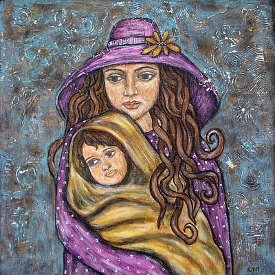 Rain Ririn Painting - Mom And Child by Rain Ririn