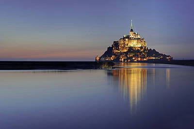 Clear Sky Photograph - Mont Saint-michel, France by David Min