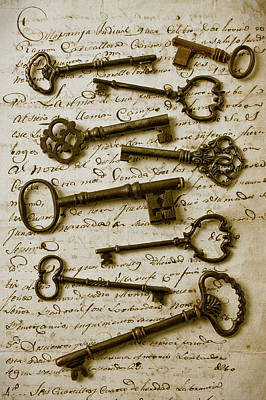 Old Keys On Letter Print by Garry Gay