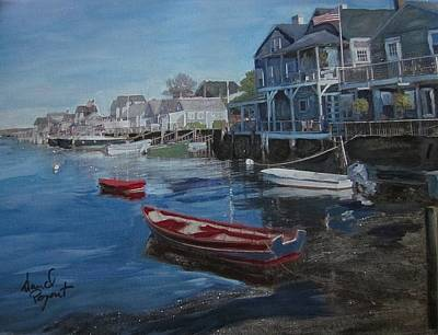 Dingy Painting - Peaseful Harbor by David Poyant
