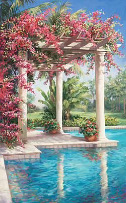 Bougainvilla Painting - Poolside Garden by Laurie Hein