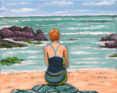 Woman Painting - Red Haired Beach Bather by Susan Stewart