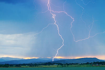 Rocky Mountain Front Range Foothills Lightning Strikes 1 Print by James BO  Insogna