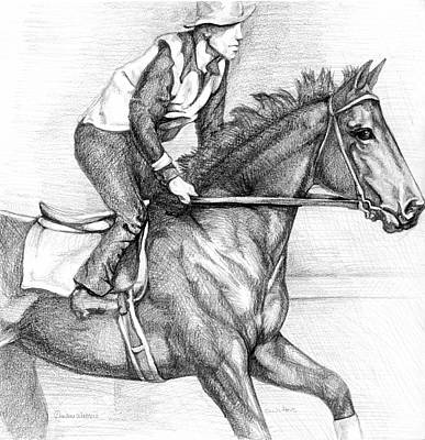 Seabiscuit Drawing - Seabiscuit With Woolf Up by Darlene Watters