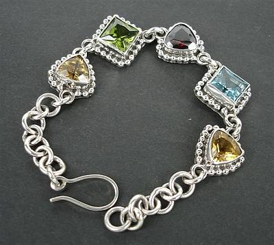 Sterling Silver Bracelet Jewelry - Ss Bracelet With Semi Precious Stones by fmnjewel - Fernando Situmeang