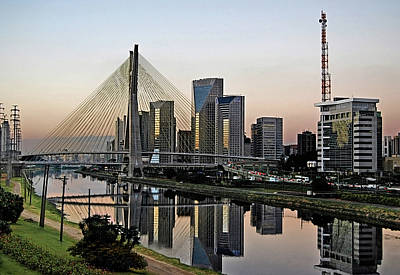 Stayed Bridge And Modern Sao Paulo Skyline Print by Carlos Alkmin