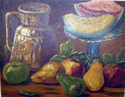 Still Life With Green Apples Painting - Still Life With Pears And Melons by Hilda Schreiber