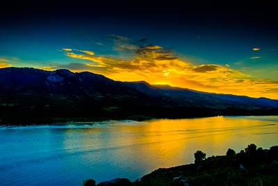 Sunset At Horsetooth Reservoir Print by Harry Strharsky