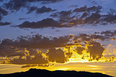 Sunset Over Horsetooth Rock Print by Harry Strharsky