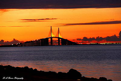 Sunset Over The Skyway Bridge Print by Barbara Bowen