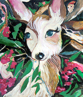Fairy Drawing - The Christmas Deer by Mindy Newman