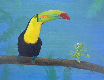 Toucan Painting - The Toucan And The Lizard by Robin Wiesneth