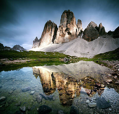 Dolomite Photograph - Three Peaks Reflection In Lake by Matteo Colombo
