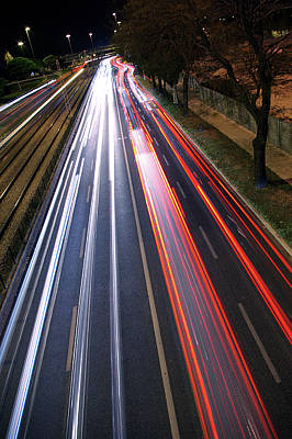 Trace Photograph - Traffic Lights by Carlos Caetano
