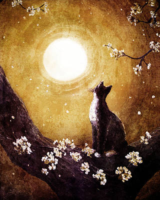 Tuxedo Cat In Golden Cherry Blossoms Print by Laura Iverson