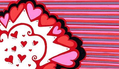 Abstract Hearts Drawing - Valentine's Day Heart Abstract by Mandy Shupp