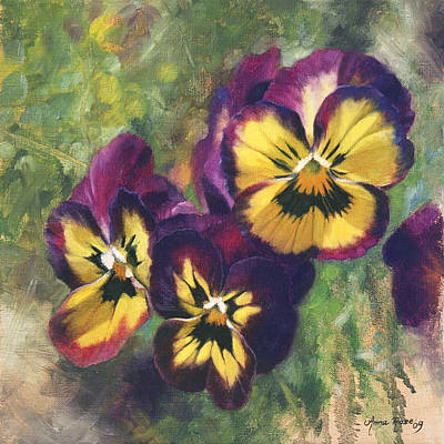 Pansy Painting - Velvet Clowns I by Anna Rose Bain