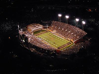 Wake Forest Aerial View Of Bb And T Field Print by John Grogan