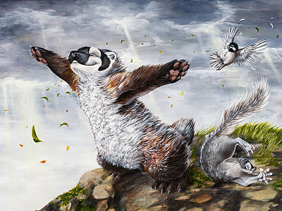 Cartoon Animals Painting - Windy Day by Beth Davies