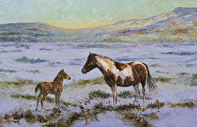 Pinto Painting - Winter Mare And Foal by Karen McLain