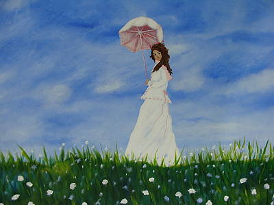 Girl With A Pink Dress Painting - Woman With A Parasol by Beverly Livingstone