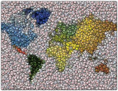 Bottlecaps Digital Art - World Map Bottle Cap Mosaic by Paul Van Scott