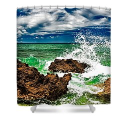 Blue Meets Green Shower Curtain by Christopher Holmes