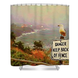 Depoe Bay Security Guard Shower Curtain by Methune Hively
