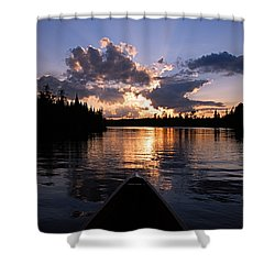Evening Paddle On Spoon Lake Shower Curtain by Larry Ricker