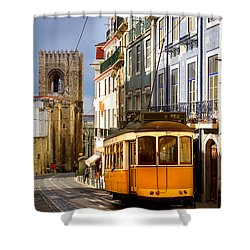 Lisbon Tram Shower Curtain by Carlos Caetano