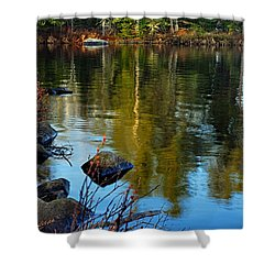 Morning Reflections On Chad Lake Shower Curtain by Larry Ricker