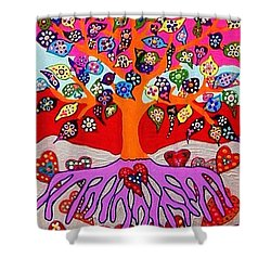 My Heart Flowers For You Shower Curtain by Sandra Silberzweig