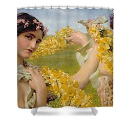 When Flowers Return Shower Curtain by Sir Lawrence Alma-Tadema