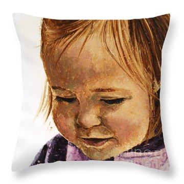 Portrait Of A Girl Throw Pillow by Tatjana Popovska