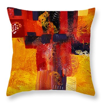 Byzantine Times An Abstract Painting Of Geometric Shapes Throw Pillow by Phil Albone