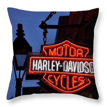 Harley Davidson New Orleans Throw Pillow by Bill Cannon