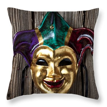 Jester Mask Hanging On Wooden Wall Throw Pillow by Garry Gay