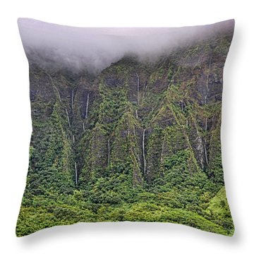Ko'olau Waterfalls Throw Pillow by Dan McManus