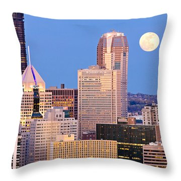 Moon Over Pittsburgh 2 Throw Pillow by Emmanuel Panagiotakis