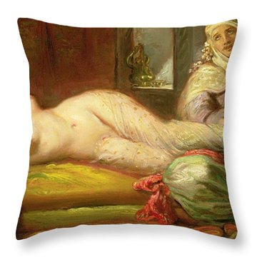 Reclining Odalisque Throw Pillow by Theodore Chasseriau